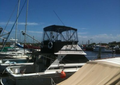 Bimini with Flybridge Enclosure, Rear Awning and Blockouts