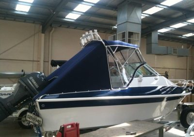 Bimini with Rocket Launcher, Front and Side Clears and Storm Cover